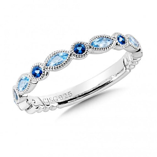 Colore Sg Sterling Silver Blue Topaz and London Blue Topaz Stacking Band, New Item #lvr721-lbtb