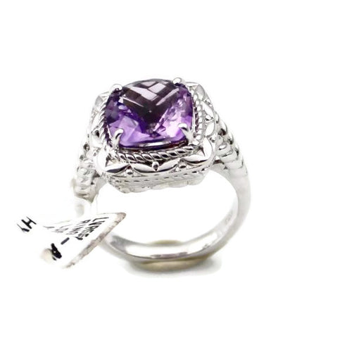 Colore Sg Sterling Silver Amethyst Ring, New item #LVR559-AM