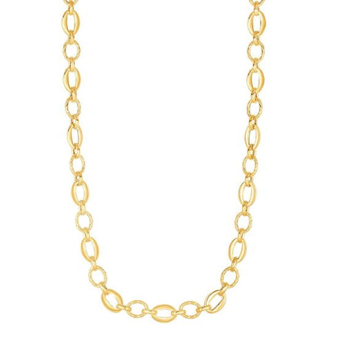 14K Yellow Gold Finish 8.3mm Shiny+Textured Oval Fancy Link Necklace 18