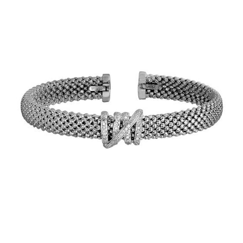 Phillip Gavriel Silver with Rhodium Finish 8mm Popcorn Textured Do Med Cuff Bangle with Coil Center Element with 0.13Ct. Diamond #PGCF3654