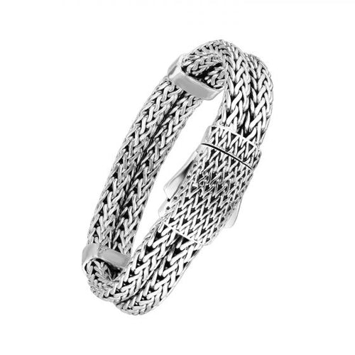 Phillip Gavriel Sterling Silver Woven 2-Row 15.5mm Box Clasp Men's Bracelet, New item #PGRC10738-0850