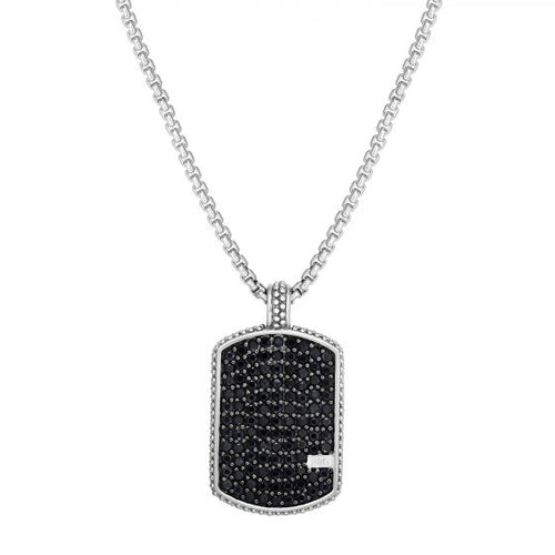 Phillip Gavriel Sterling Silver Black Rhodium Sapphire Pendant With Round Box Chain , New item#PGSET2650-22