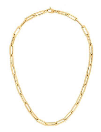 Solid 14k Yellow Gold 6.1mm Polished Paperclip Chain Lobster Clasp 18'' 8.4gr, New item  #RC11168-18