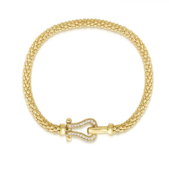 Phillip Gavriel 14k Gold Yellow Finish 4mm Textured Popcorn Diamond Bracelet with Snap Clasp New item #RC6617