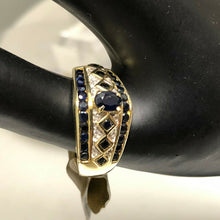 Ladies 14K Sapphire & Diamonds Cocktail Designer Band Ring Sz 11, 6 Gr., Pre-Owned item #338685B