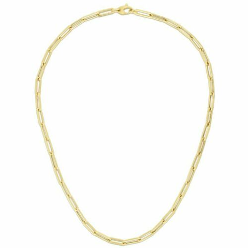 Ladies Solid 14k Yellow Gold 4.2mm Polished Paperclip Chain Lobster Clasp 24'', New item #RC11170-24