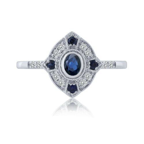 September Birthstone Ladies Solid 14K White Gold Sapphire & Diamond Ring NEW item #681229