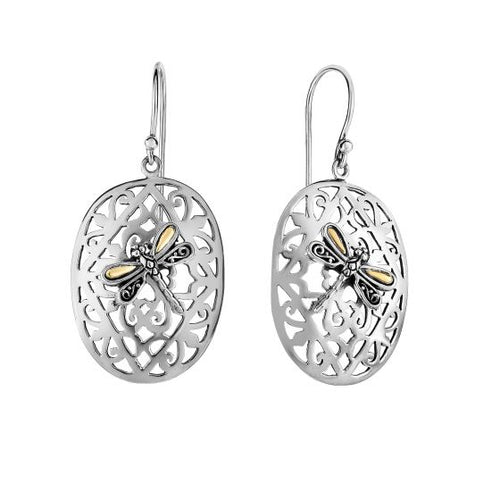 Phillip Gavriel 18Kt+Silver Oxidized+Rhodium Finish Shiny 21X45mm Oval Dragonfly Drop Earring with Euro Wire Clasp New Item #SILE762