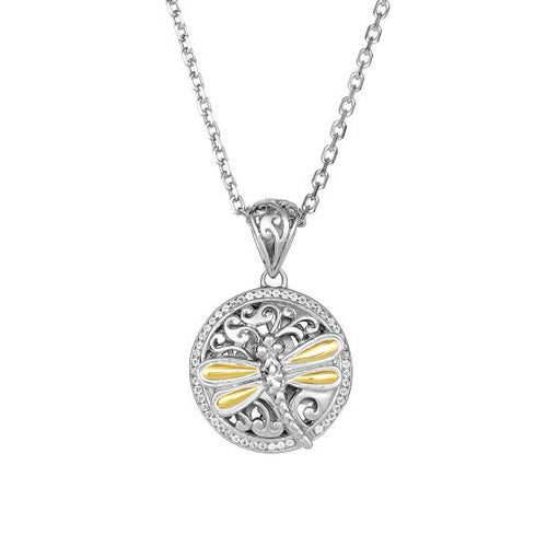 Phillip Gavriel 18K Yellow Gold+Silver with Rhodium Finish Shiny Round Dragonfly Fancy Pendant with White Sapphire On Cable Chain #SILP6260