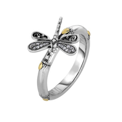 Phillip Gavriel 18kt Yellow Gold+Silver with Oxidized Finish Shiny 14-2.9mm Bamboo Textured White Sapphire Dragonfly Fancy Size 07 Ring #SILR1307
