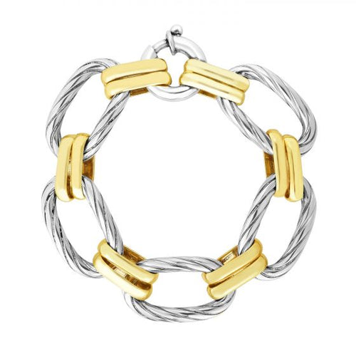 Phillip Gavriel Sterling Silver & 18KY Gold 17mm La Bruna Link Bracelet 7.25'', New item #SILRC7244