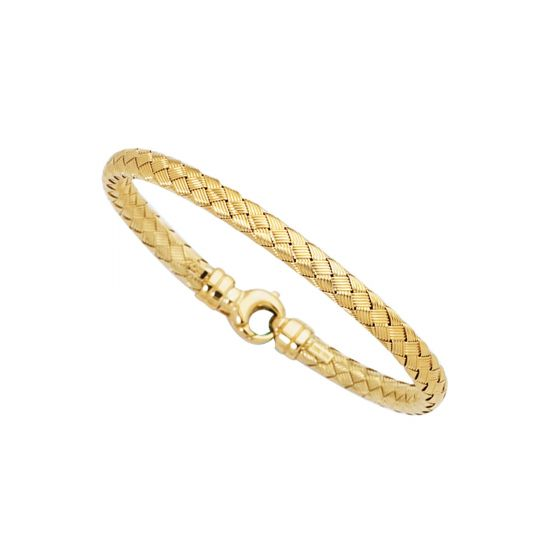 Ladies 14K Yellow Gold Polished Round Basket Weaved Bangle 7.25