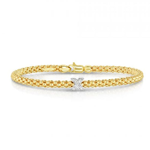 Phillip Gavriel 14KYW Gold Finish 3mm Polished Popcorn Diamond Bangle with Lobster Clasp New item #BG8198