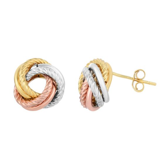 Ladies Solid 10K Tri-Color Gold Shiny & Diamond Cut 2 Row Loveknot Stud Earrings, New item #ZTCER377