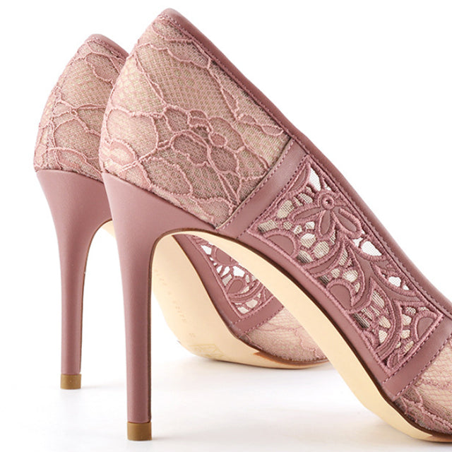 Pink Lace Point Toe Pumps High Heel