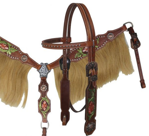 Showman ® Painted Tooling Headstall and Breast collar set with Horse Hair Fringe