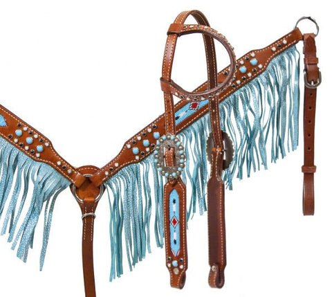 Showman ® Beaded inlay and turquoise sting ray print fringe
