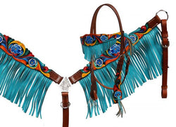 Showman ® Headstall and breast collar set with teal fringe and hand painted floral tooling