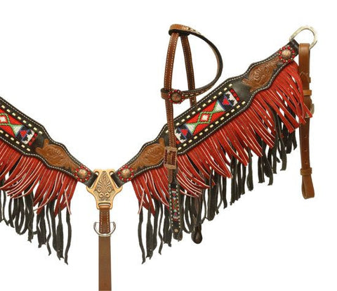 Showman ® Two toned fringe headstall and breast collar with beaded inlay