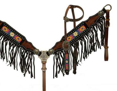 Showman ® Beaded headstall and breast collar with black fringe
