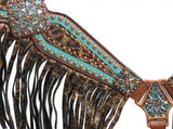 Showman® Bejeweled metallic leopard print headstall and breast collar set SH13265