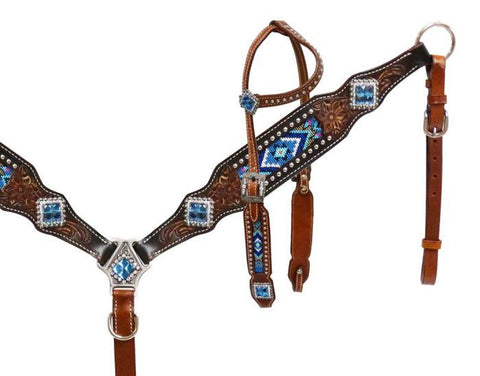 Showman® Headstall and breast collar with beaded inlay SH13523
