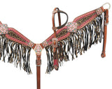 Showman® Bejeweled metallic leopard print headstall and breast collar set SH13731