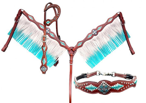 Showman ® Turquoise and White leather laced Tack Set SH14257