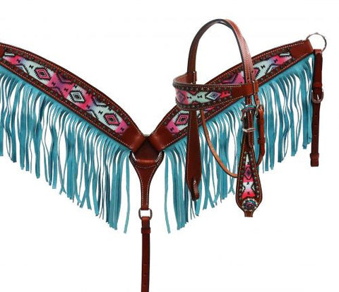 Showman ® Pastel Navajo headstall and fringe breast collar set