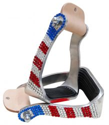 Showman ® Red, White and Blue crystal rhinestone stirrups. SH175950