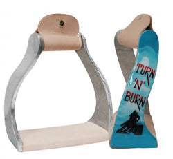 "Showman ® Lightweight twisted angled aluminum ""Turn 'N' Burn"" stirrups SH175953"