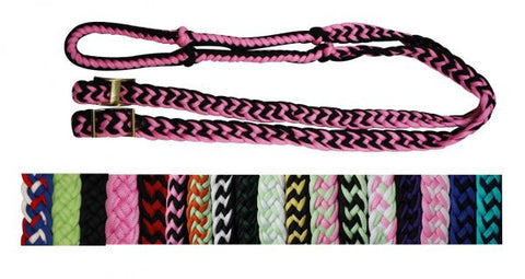 Showman Braided nylon barrel reins with easy grip knots