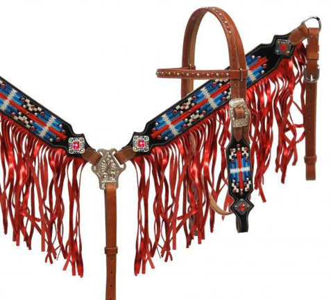 Showman ® Navajo embroidered headstall and breast collar set with metallic fringe
