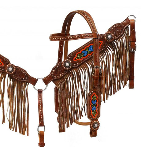 Showman ® Medium leather headstall and breast collar set with multi colored beaded design and fringe