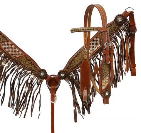 Showman ® Bronze fringe headstall and breast collar