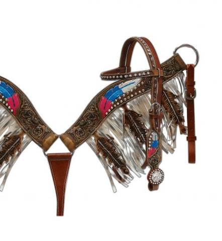 Showman ® Metallic painted headstall and fringe breast collar set