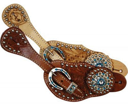 Showman™Ladies spur strap with acorn tooling accented with blue crystal rhinestones SH7124
