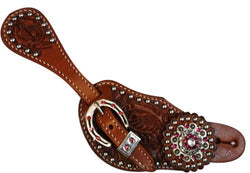 Showman™Ladies spur strap with acorn tooling accented with Pink crystal rhinestones SH7125