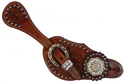 Showman™Ladies spur strap with acorn tooling accented with Clear crystal rhinestones SH7126