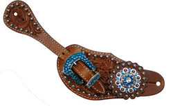 Showman™ Ladies Tooled Leather Spur Straps with Blue Rhinestone Hardware and conchos SH7133