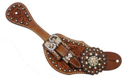 Showman™ Ladies Tooled Leather Spur Straps SH7135