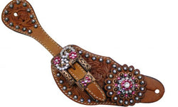 Showman™ Ladies Tooled Leather Spur Straps SH7136