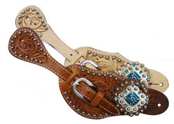 Showman™   Ladies Tooled Leather Spur Straps with Diamond Shaped Blue Rhinestone Conchos SH7137