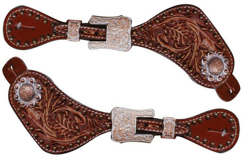 Showman ® Ladies size Floral tooled spur straps  SH7192