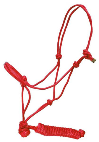 "Showman™ horse size adjustable nylon cowboy knot halter with matching 5/8"" X 7' lead SH722731"