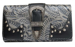 Silver embossed PU leather wallet SHBA1726-A1