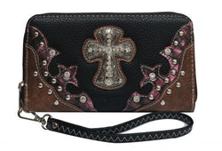 Black PU leather clutch wallet with crystal rhinestone cross SHBC2660-A
