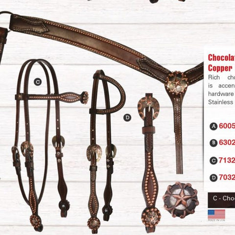 6005C: NOSEBAND 1? COPPER SPOTS CHOCOLATE BRIDLE