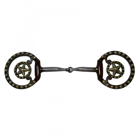 BROWN IRON FIXED DEE SNAFFLE BIT #DR036