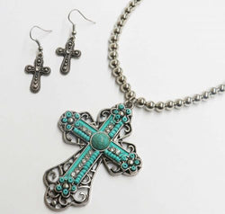 Turquoise stone cross pendant and earring set SHSA15522